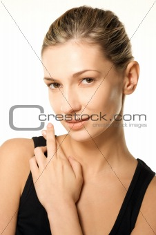 Beauty shot of girl with crossed fingers