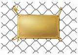 blank bronze metal plate on a wire net