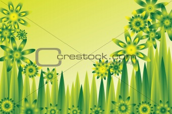 green flower meadow