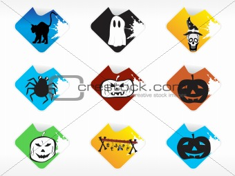 abstract halloween sticker series set11