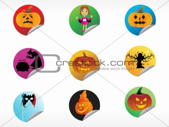 abstract halloween sticker series set14
