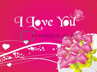 abstract valentines background with rose bouquet
