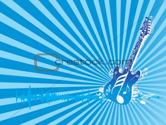 abstract vector background with guitar, wallpaper
