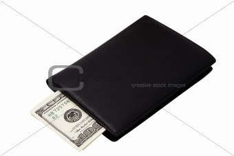 Black wallet with banknotes