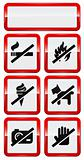 set of icons forbidding smoking, fire, dog etc.