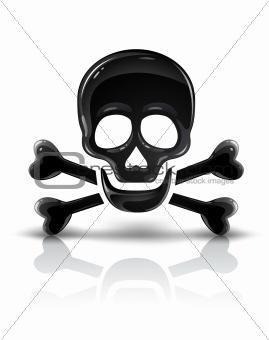 black skull symbol with crossed bones