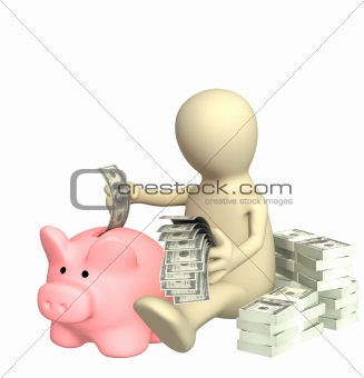 3d puppet who is saving money in piggy bank