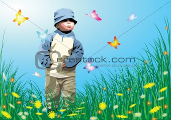 Small child in the garden