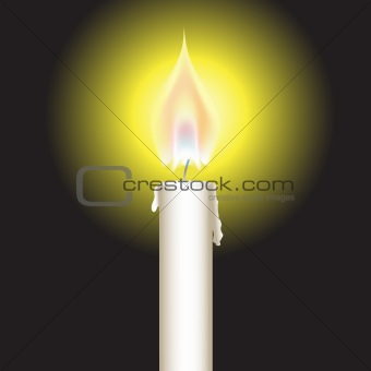 Bright glowing candle