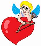 Cute cupid resting on heart
