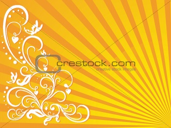 abstract vector wallpaper of floral love themes in yellow