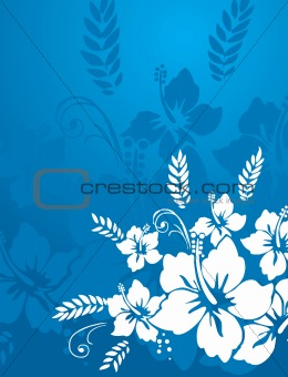 abstract vector wallpaper of floral themes in blue