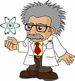 Illustration of nutty science professor
