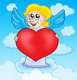 Cupid holding heart on sky
