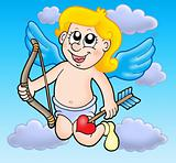 Small flying cupid with bow