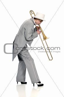 Classy trombone player in a tuxedo