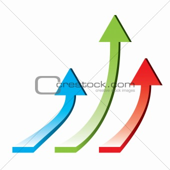3d arrows pointing upwards - rising economy / vector illustration