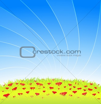 Romantic meadow full of heart flowers