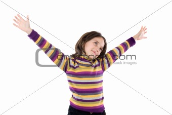 Beautiful girl with the outstretched arms