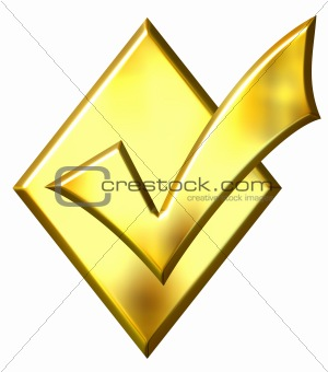 3D Golden Ticked Diamond