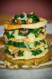 A Mille Feuille Starter Of Creamy Lancashire Cheese, Spinach, And Walnuts