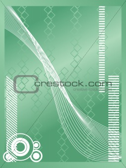 abstract waves green vector background, illustration