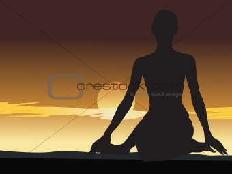 an Illustration of woman meditating on the hill-top