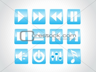 audio button icons, blue