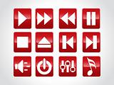 audio button icons, red