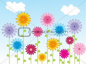 background with floral and sky, illustration