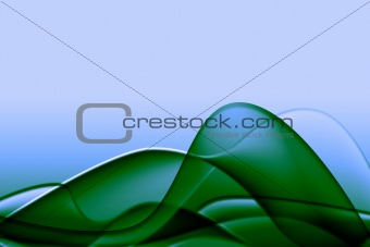 Green abstract composition with flowing design