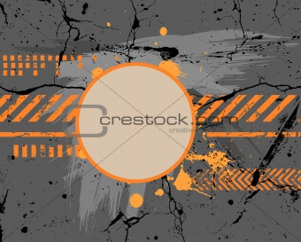 Abstract gray and orange painting