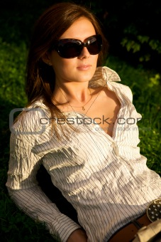 Young pretty girl in sunglasses