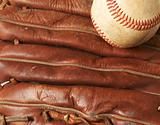baseball on glove