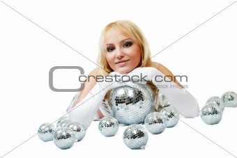 Attractive woman with disco ball