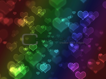 Bright colorful bokeh hearts