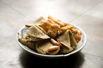 Bowl of Snacks with Fortune Cookies