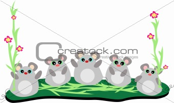Five Mice in a Row with Stalks of Flowers