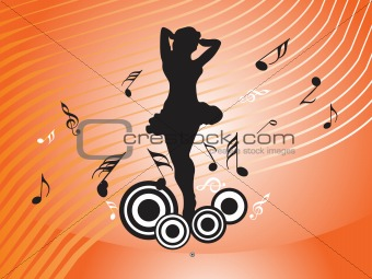 beautiful dancing girl with musical elements on orange background, illustration