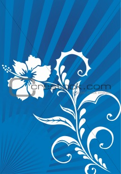 beautiful floral ornament, blue vector illustration