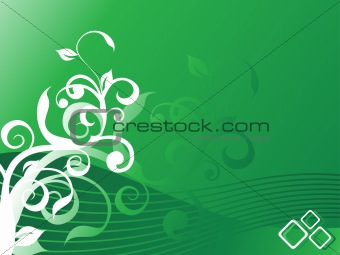 beautiful floral ornament, green vector illustration
