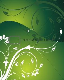 beautiful flower ornament, gradient green vector