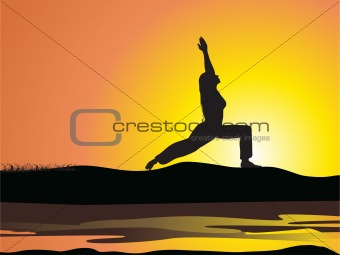 beautiful lady silhouette doing yoga on the river side