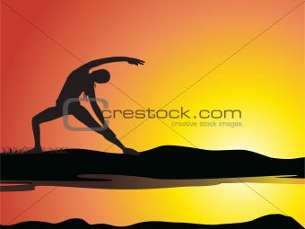 beautiful scenery of yoga silhouette girl