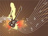 beautifull abstract illustration, disco background with guitar and female dancer