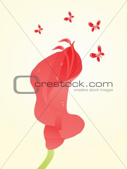 beautifull background with flower and butterfly design2