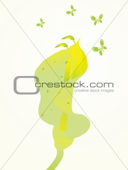 beautifull background with flower and butterfly design7