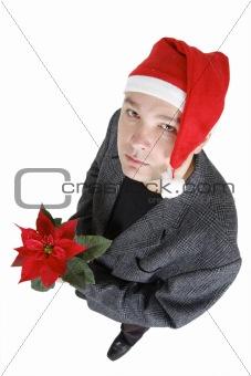 man in santa claus cap