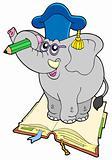 Elephant teacher standing on book
