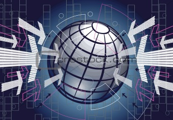 Abstract bue technology background with globe and arrows